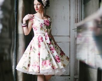 Hawaiian Dress Tropical Hibiscus Flower Pin Up Tiki Vintage Inspired Summer