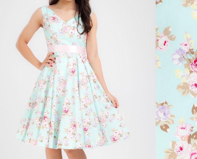 27c995cb517 Plus Size Floral Dress Bridesmaid Dress Aqua Dress Vintage