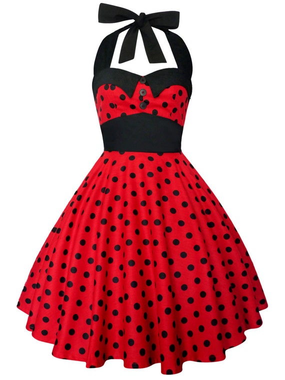 Plus Size Rockabilly Dress Red Polka Dots Dress Vintage Dress Pin Up Dress  Retro Dress Gothic Steampunk Swing Disney Dress Party Dress
