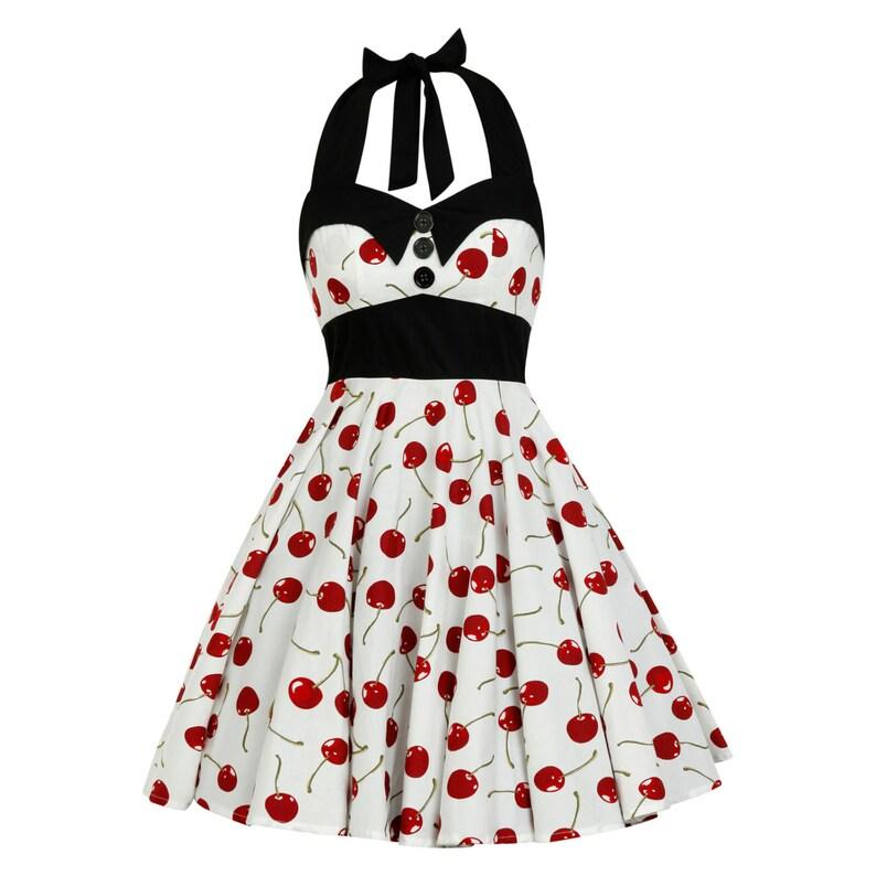 0ea5e0f3b44 White Dress Red Cherry Dress Vintage Dress Rockabilly Dress
