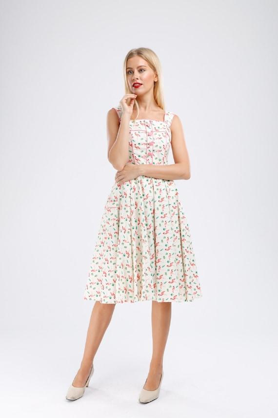 Plus Size Dress White Pink Flamingo Dress Vintage Dress Summer Dress Picnic  Dress Rockabilly Pinup Dress 50s Retro Party Dress Swing Dress