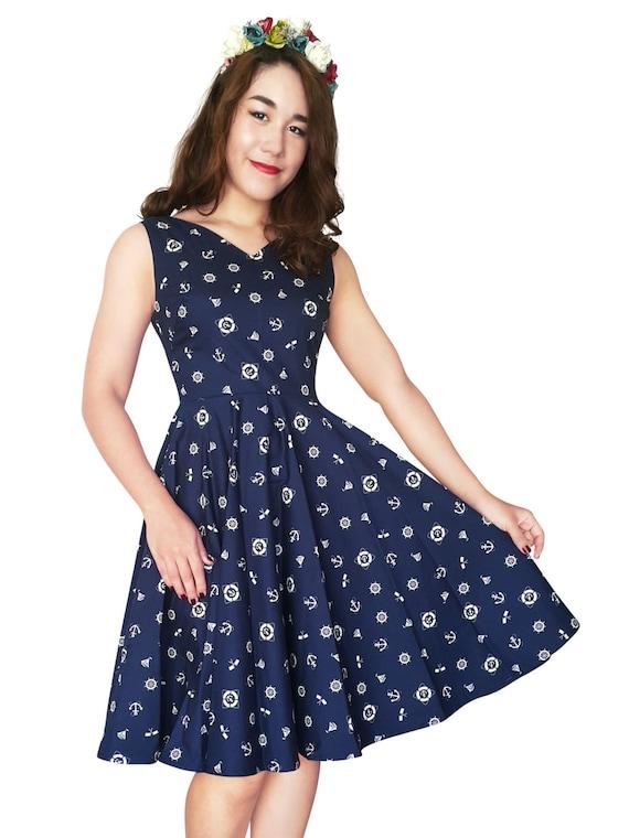 Plus Size Nautical Dress Sailor Dress Pin Up Dress V neck Navy Anchor  Rockabilly Dress Summer Dress Swing Prom Vintage Dress Party Dress