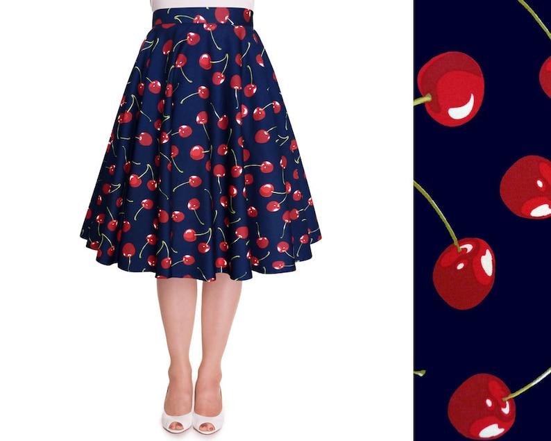 1950s Swing Skirt, Poodle Skirt, Pencil Skirts Red Cherry Skirt Cherries Women Circle Skirt Summer Skirt Vintage Midi Skirt Pin Up Clothing Rockabilly Skirt 50s Retro Swing Party Dress $29.90 AT vintagedancer.com