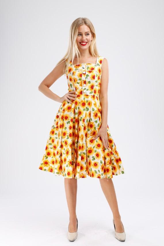 Plus Size Sunflower Dress Floral Dress Vintage Dress Summer Picnic Dress  Rockabilly Pinup Dress 50s Retro Dress Party Dress Swing Dress
