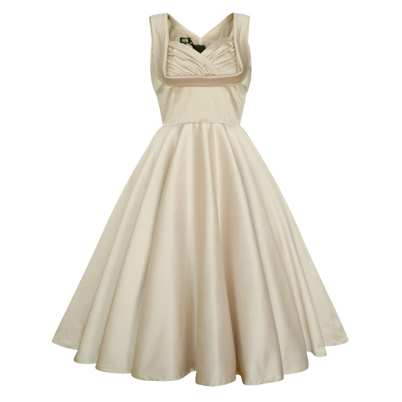 a9e739aed14 Ivory Satin Dress Vintage Wedding Dress Bridesmaid Dress 50s
