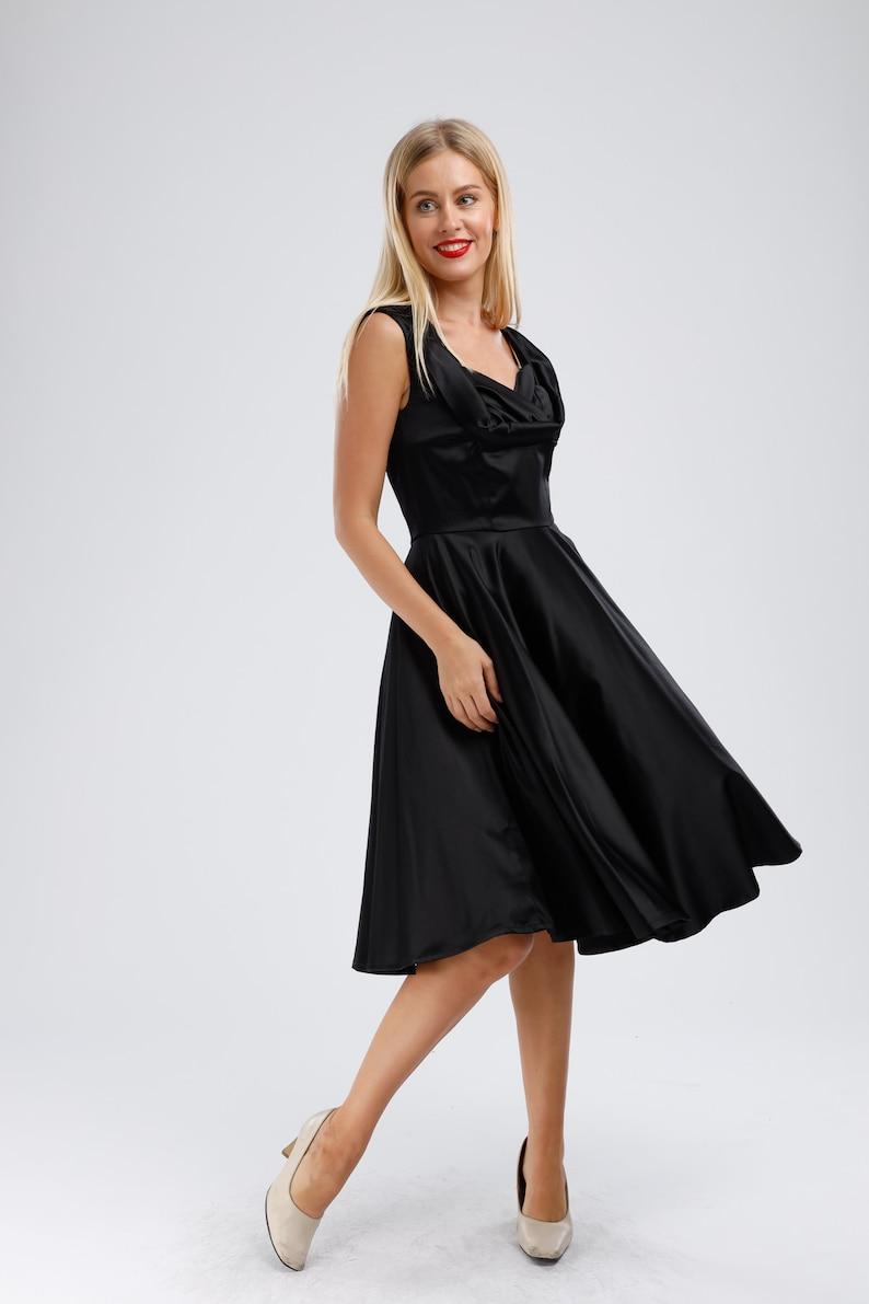 Plus Size 50s Dress Black Satin Dress Little Black Dress Prom | Etsy