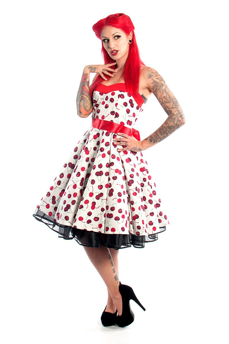 ce9ed1139b7 White Cherry Dress Red Cherries Vintage Dress Rockabilly Pinup