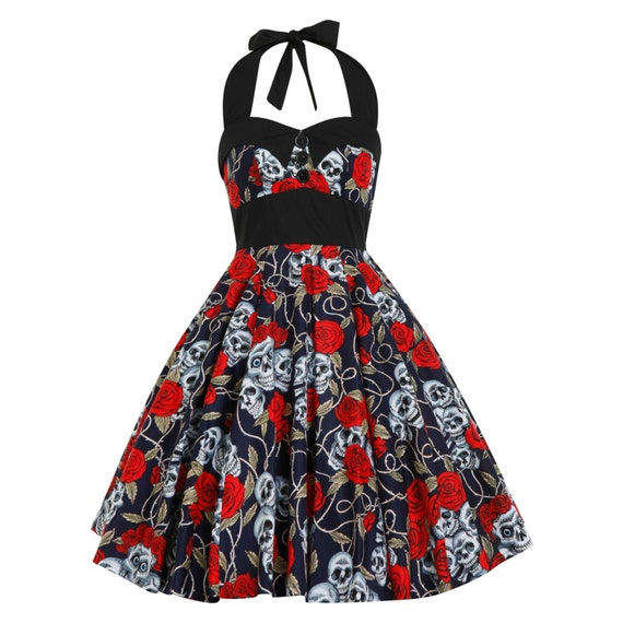 Plus Size Day Of The Dead Dress Sugar Skull Dress Halloween Party Dress  Navy Dress Gothic Dress Rockabilly Dress Pin Up Dress Swing Dress