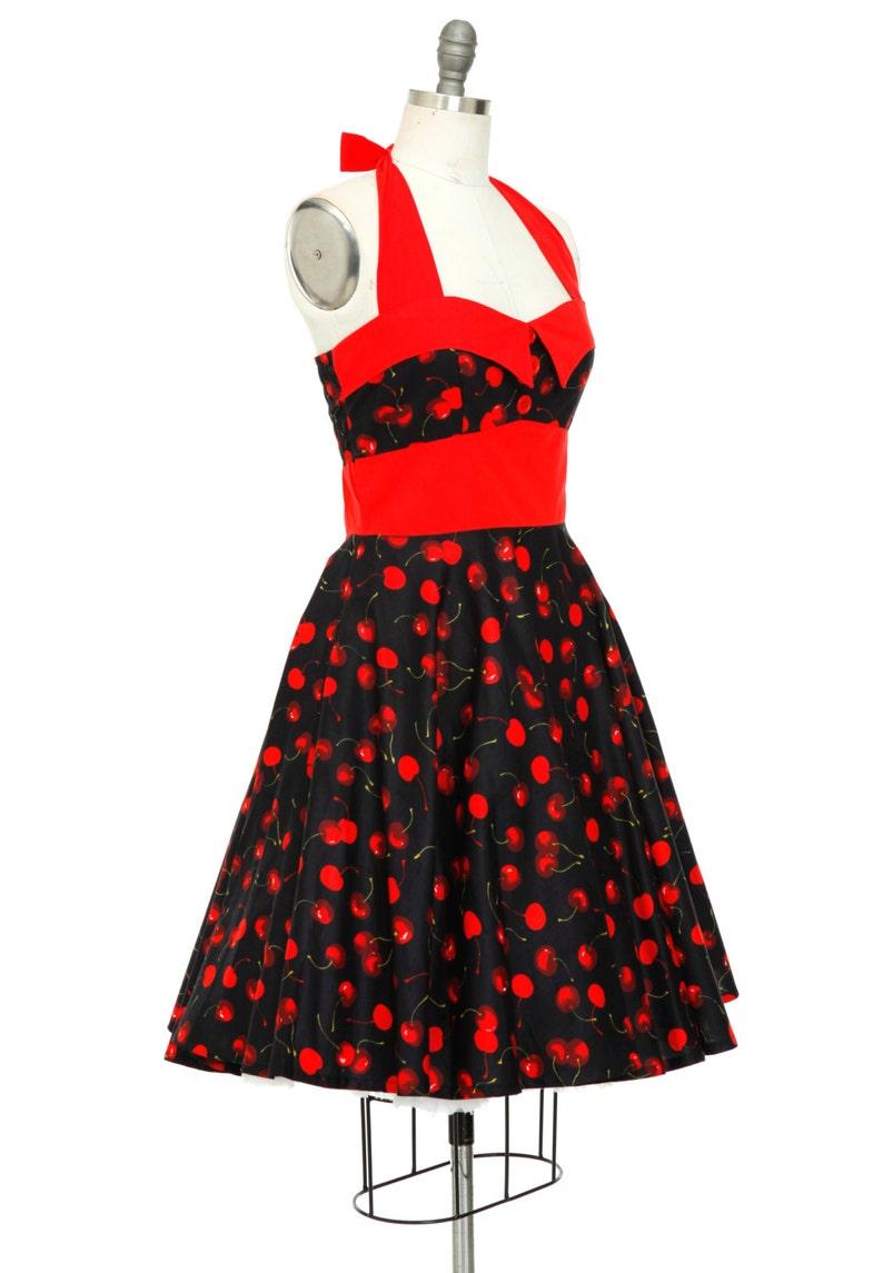 029bafa223e Cherry Red Dress Red Halter Dress Christmas Dress Vintage