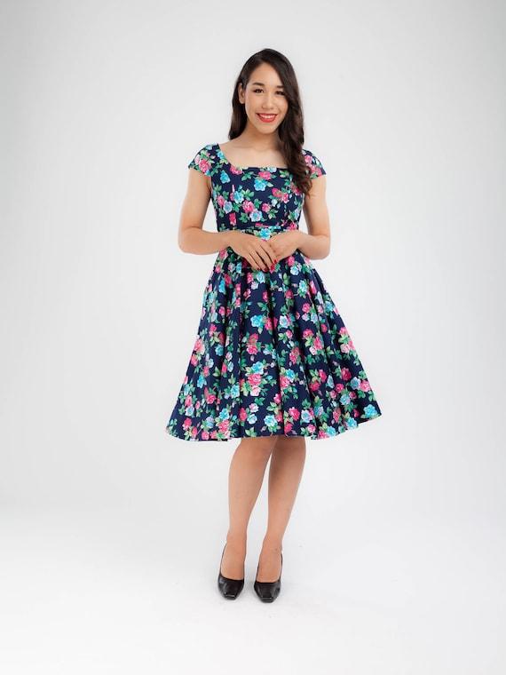 Plus Size Vintage Dress Rose Floral Dress Bridesmaid Dress Vintage Swing  Dress Holiday Dress Prom Party Dress Pinup Dress 50s Dress