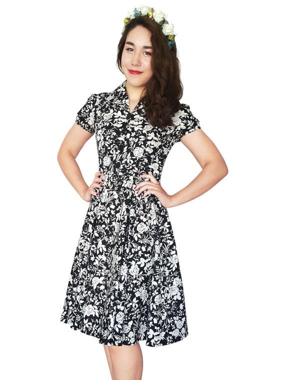 Plus Size Black Rose Dress Vintage Dress Floral Dress Retro Party Dress Pin  Up Dress 50s Dress Swing Dress Bridsmaid Dress Party Dress