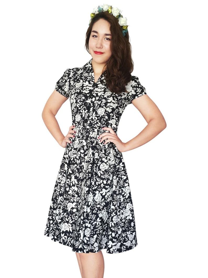 fe1d50da466 Black Rose Dress Black Floral Dress Vintage Dress Floral Dress