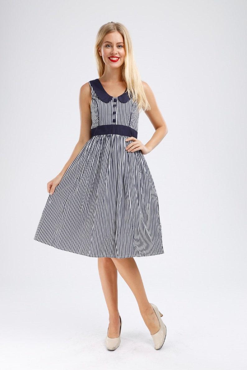 Plus Size Navy Dress Sailor Dress Anchor Dress Stripes Dress Summer  DressRockabilly Dress 50s Dress Retro Dress Summer Dress Pinup Dress