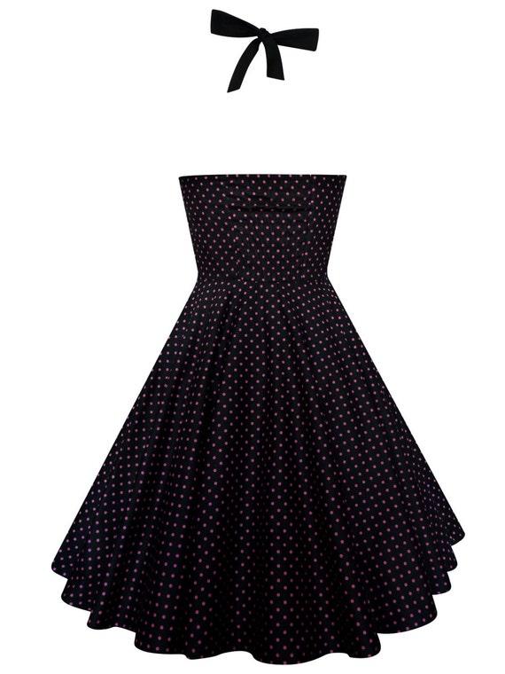 Plus Size Black and Purple Polka Dots Dress Rockabilly Dress Vintage Halter  PinUp Dress 50s Retro Gothic Dress Steampunk Party Dress