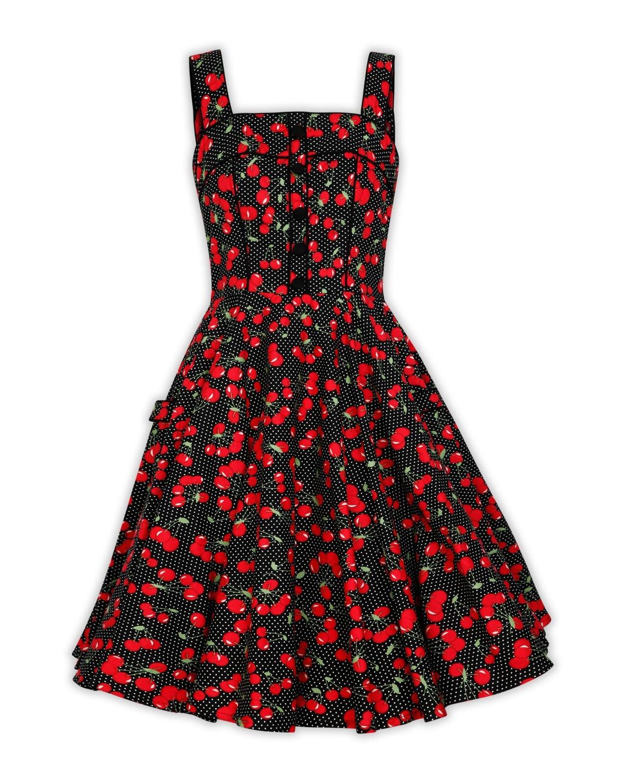 1453db6c1ab2 Plus Size Black Polka Dot Cherry Dress Red Cherry Dress Vintage Dress  Summer Dress Rockabilly Pinup Dress 50s Retro Party Dress Swing Dress