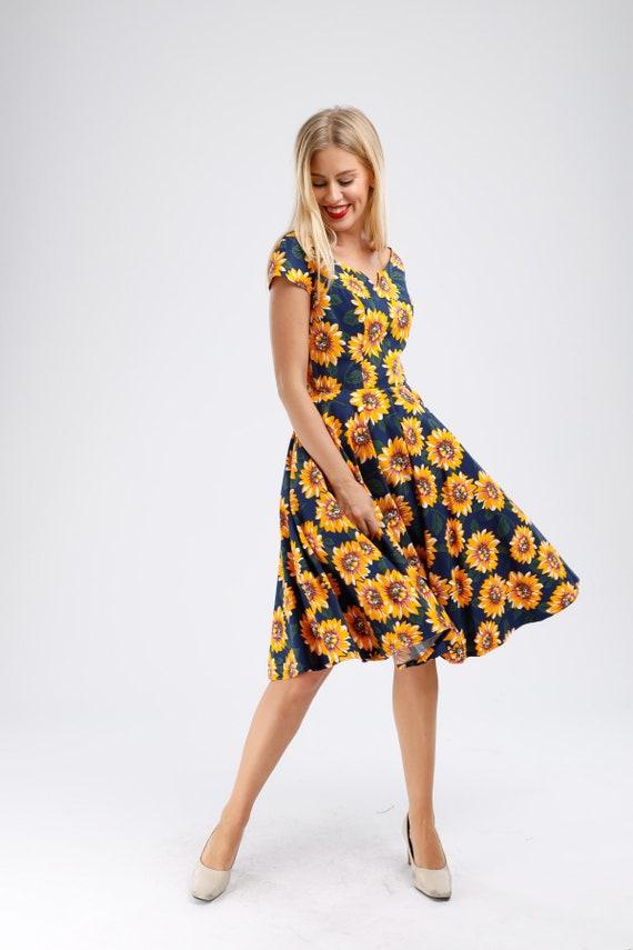 Plus Size Navy Floral Dress Sunflower Dress Summer Dress Holiday Dress  Vintage Dress Pin Up Dress Retro Swing Dress 50s Dress Party Dress