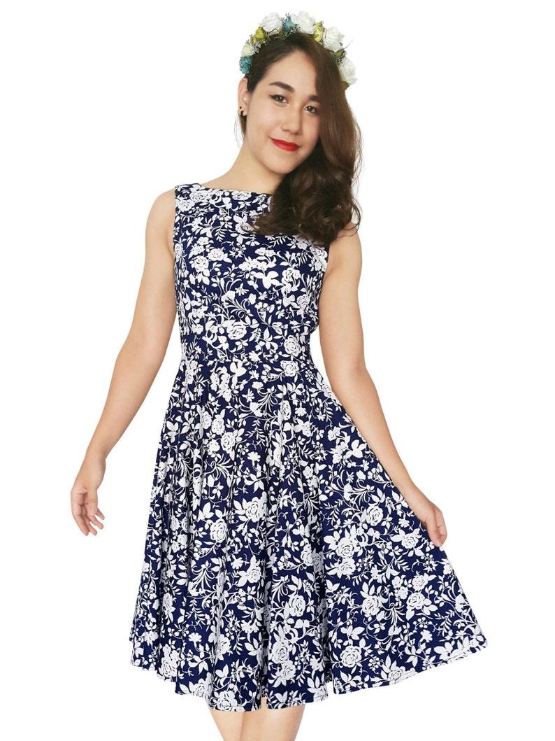 Plus Size Blue Rose Dress Vintage Dress Blue Floral Dress Rose Dress White  Rose Rockabilly Dress PinUp Dress 50s Retro Party Dress