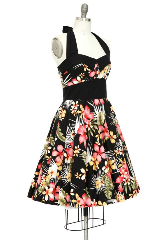 Plus Size Hibiscus Hawaiian Dress Tropical Holiday Dress Beach Dress  Vintage Party Retro Flower Dress Pin Up Dress 50s Dress Swing Dress