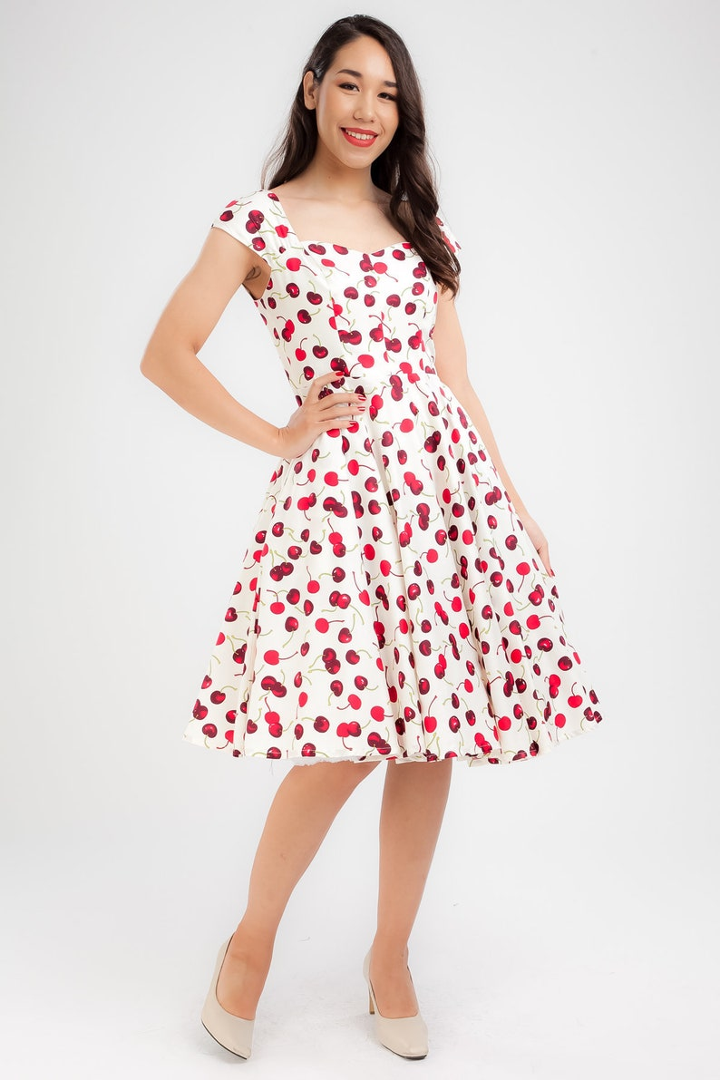 ef44ba5a790 White Cherry Dress Red Cherries Vintage Dress Pin Up Dress