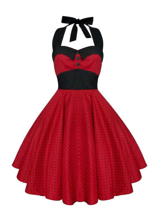 red polka dot dress vintage christmas dress rockabilly dress pin up dress 50s retro gothic steampunk swing prom party dress - Vintage Christmas Dress