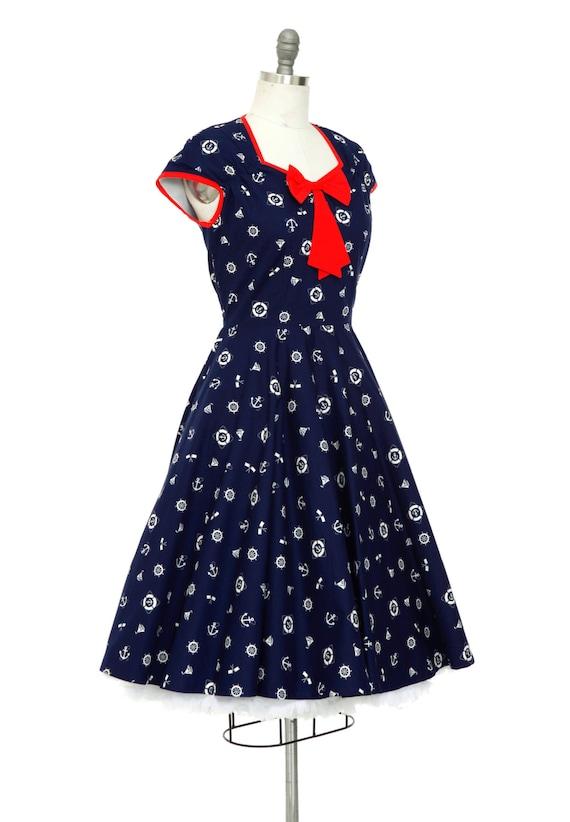 Plus Size Navy Nautical Dress Sailor Dress Vintage Dress Anchor Navy Dress  50s Pin Up Dress Rockabilly Dress Holiday Dress Retro Dress