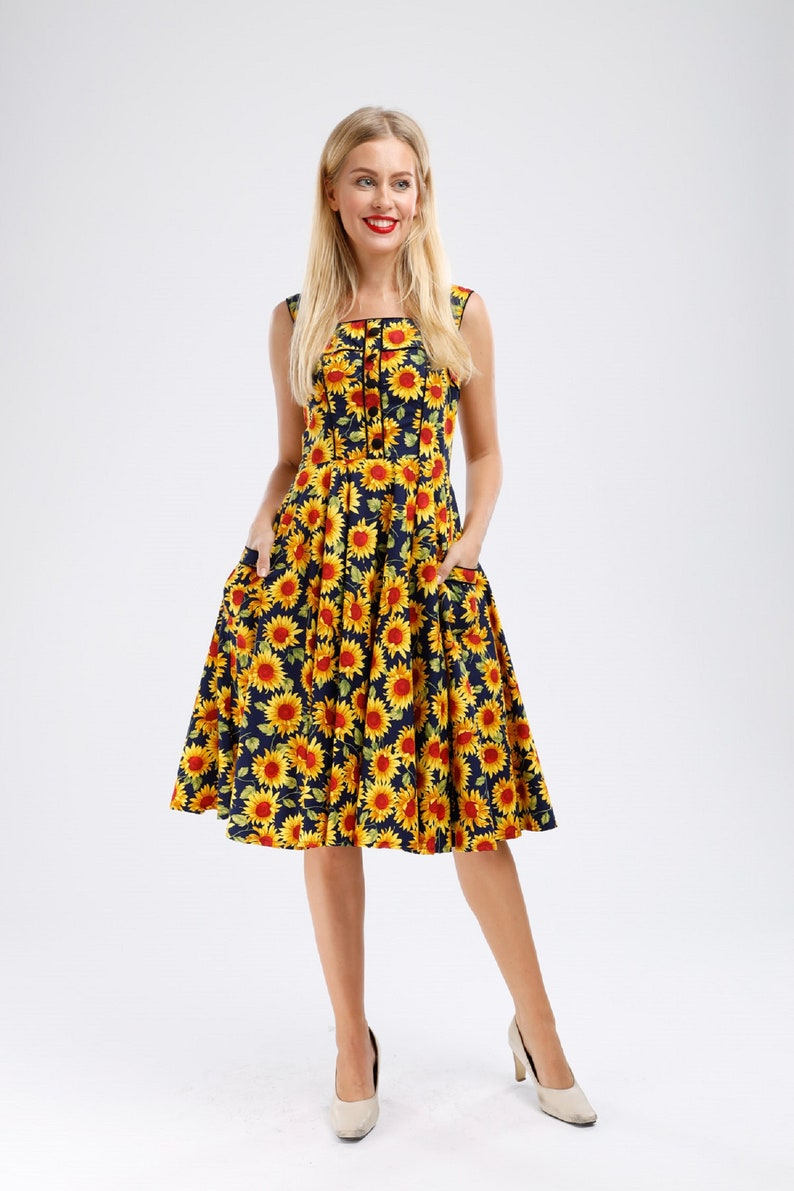Plus Size Sunflower Dress Floral Dress Vintage Dress Summer Picnic Dress  Rockabilly Pinup Dress 50s Retro Dress Party Dress Swing Dress