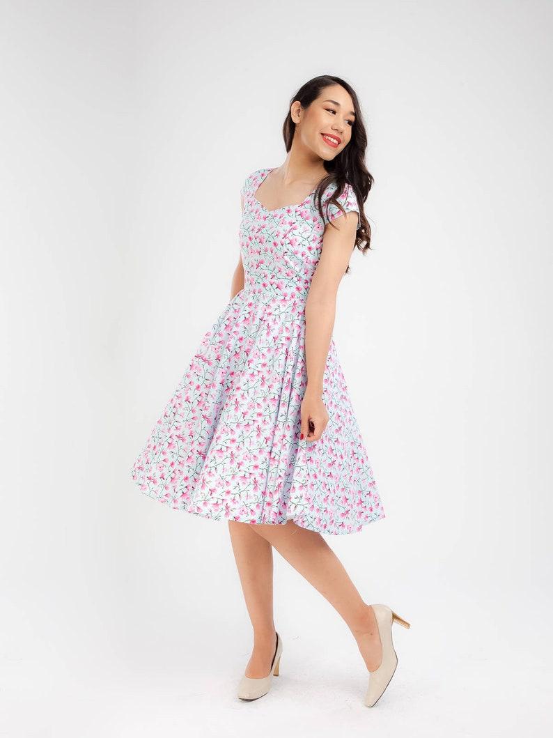 Plus Size 50s Dress Magnolia Dress Pink Blossom Dress Vintage Dress Floral  Dress Bridesmaid Dress Swing Dress Prom Party Dress Pinup Dress