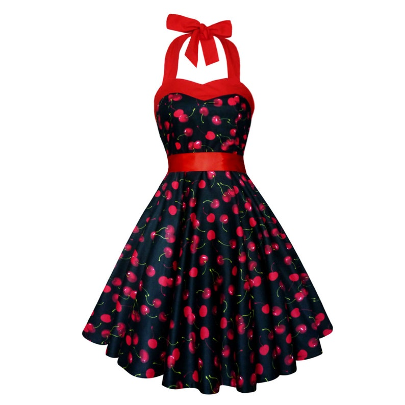 e3dce0ef3427 Black Cherry Dress Black Red Cherries Vintage Dress Rockabilly