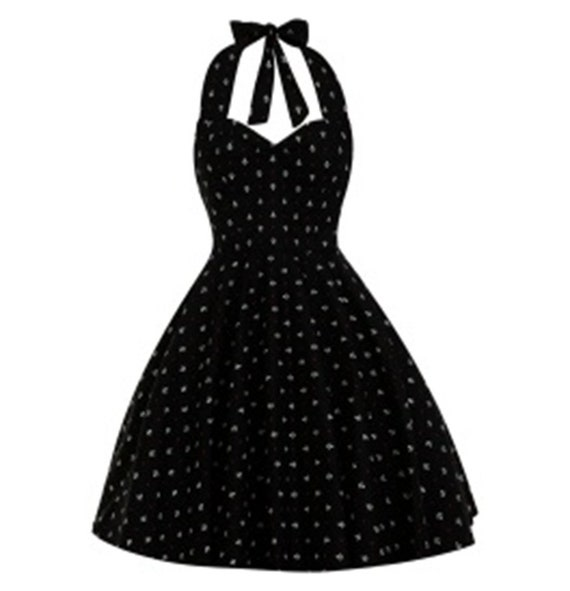 Plus Size Black Nautical Dress Sailor Anchor Dress Vintage Dress Rockabilly  Pin Up Dress Summer Dress 50s Retro Swing Party Dress