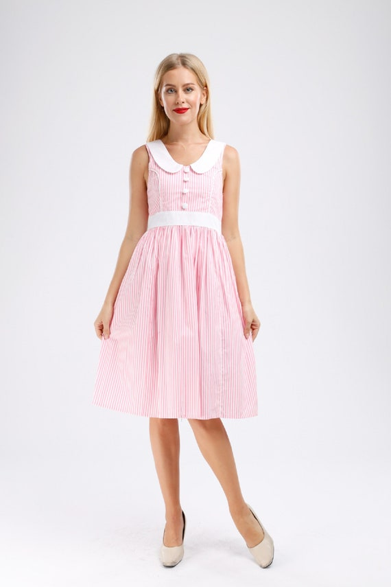 Plus Size Pink Dress Sailor Dress Anchor Dress Stripes Dress Summer Dress  Rockabilly Dress 50s Dress Retro Dress Summer Dress Pinup Dress