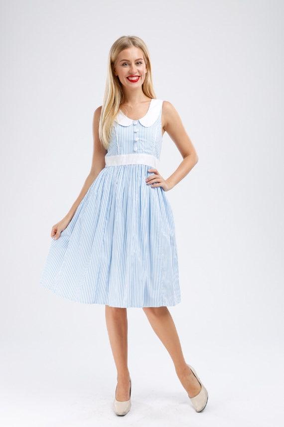 Plus Size Blue Dress Sailor Dress Stripes Dress Summer Dress Collar Dress  Vintage Dress Rockabilly Dress 50s Dress Retro Dress Pinup Dress