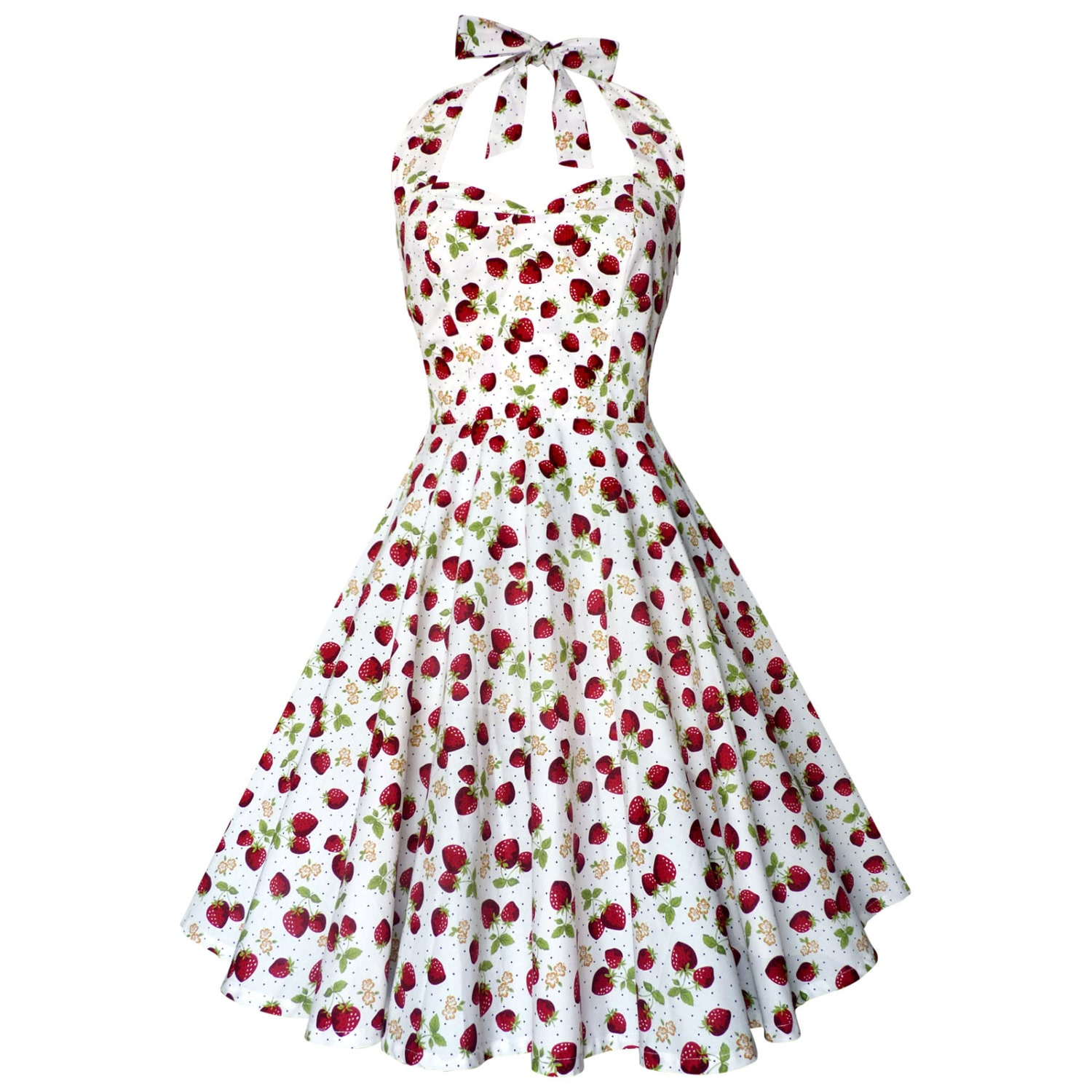 7cd23cebb647e White Strawberry Dress Summer Dress Vintage Dress Rockabilly