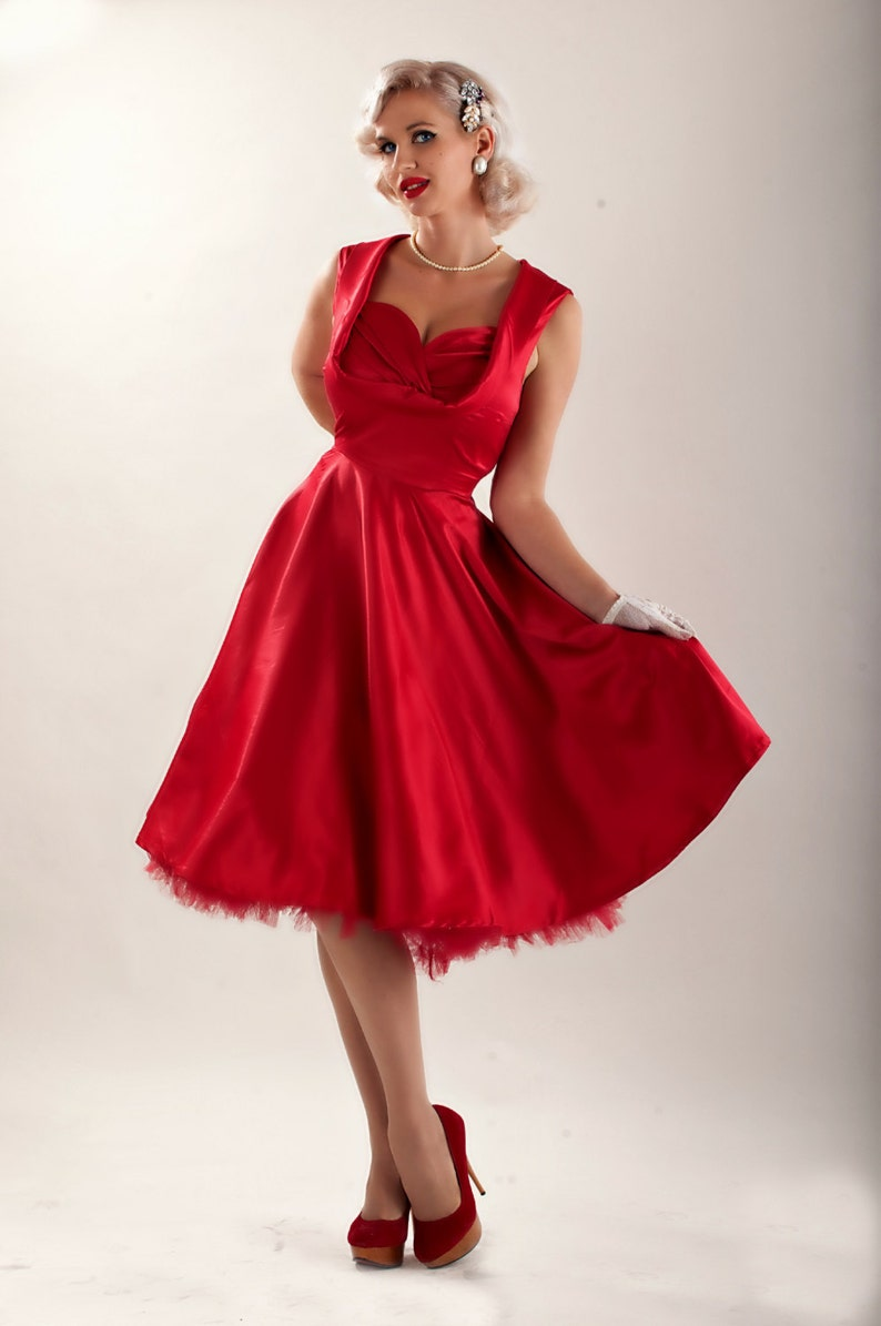1950s Plus Size Dresses, Swing Dresses Plus Size Dress Red Christmas Dress Red Satin Dress Red Dress Red Prom Dress Red Cocktail Dress Party Dress 50s Dress Red Bridesmaid Dress $69.90 AT vintagedancer.com