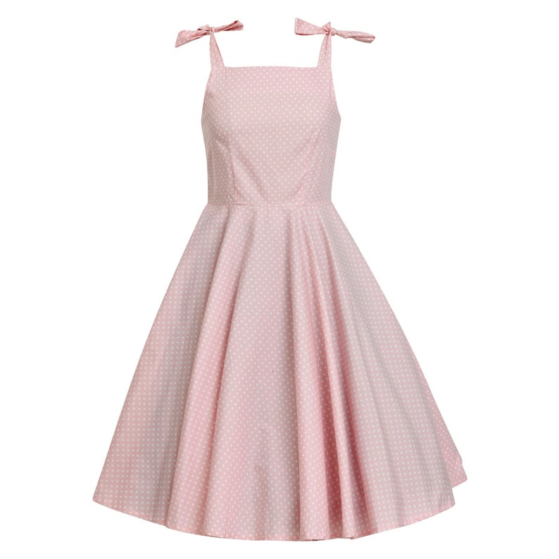 5ada6af855f Plus Size Polka Dot Pink Bridesmaid Dress Retro Dress Vintage