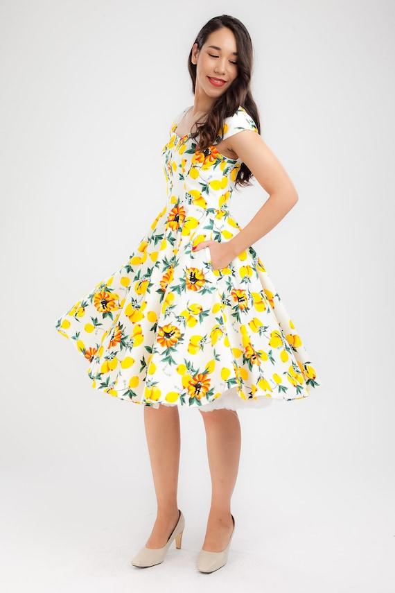 Plus Size Pin Up Dress Yellow Lemon Dress Vintage Dress Summer Dress Swing  Dress Party Dress Holiday Dress 50s Dress Rockabilly Dress