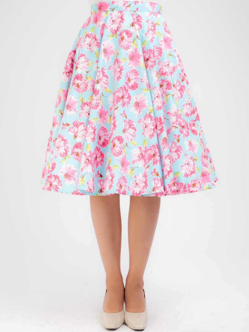 459a3a8a463 Plus Size Blue Skirt Floral Skirt Tropical Skirt Circle Skirt