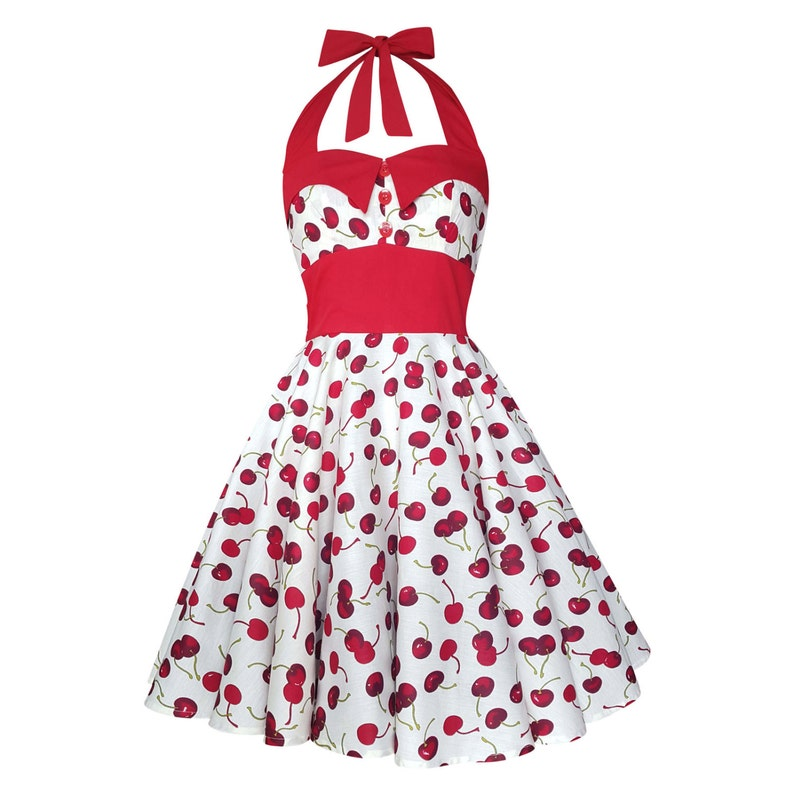 a817cc16fcb White and Red Cherry Dress Vintage Rockabilly Dress Pin Up