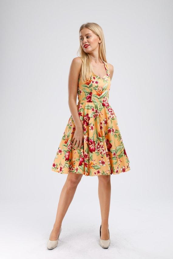 Plus Size Tropical Dress Summer Dress Floral Dress Holiday Dress Vintage  Dress Rockabilly PinUp Dress Retro Dress Swing Dress Party Dress
