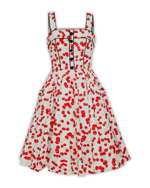 Plus Size White Polka Dot Red Cherry Dress Vintage Dress Summer Dress  Rockabilly Pin Up Dress 50s Dress Retro Party Dress Swing Dress