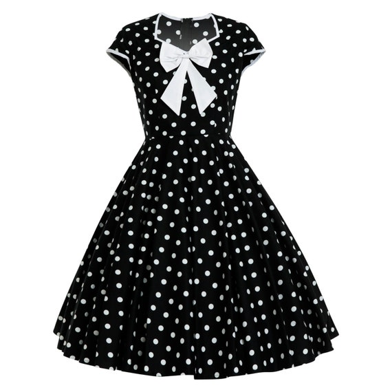 Plus Size Polka Dot Dress Vintage Dress Retro Dress Pinup Dress Rockabilly  Dress Black Dress Picnic Summer Dress 50s Party Dress