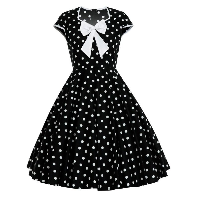 ffa7a2690b35 Plus Size Polka Dot Dress Vintage Dress Retro Dress Pinup | Etsy