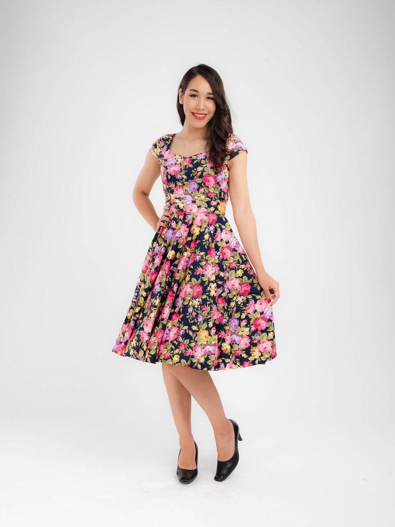d67f44055e276 Rose Floral Dress Vintage Dress Bridesmaid Dress Swing Dress | Etsy