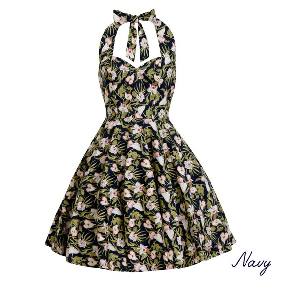 Plus Size Navy Tropical Dress Summer Dress Hawaiian Dress Floral Dress  Vintage Dress Rockabilly Pin Up Dress 50s Retro Swing Party Dress