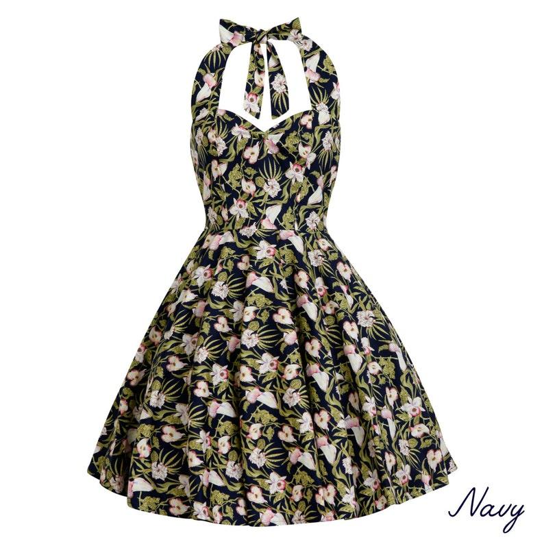 Plus Size Navy Tropical Dress Summer Dress Hawaiian Dress Floral Dress  Vintage Dress Rockabilly Pin Up Dress 50s Retro Swing Party Dress