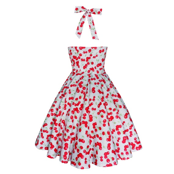 Plus Size Dress Pinup Dress White Red Cherry Dress Rockabilly Dress 50s  Dress Retro Dress Swing Dress Party Dress Vintage Dress Summer Dress