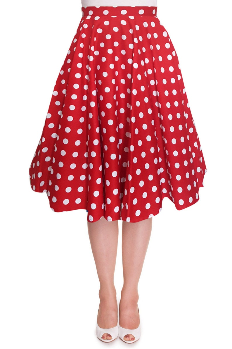 7e29303d6f40 Red Christmas Skirt White Polka Dot Skirt Circle Skirt Red | Etsy