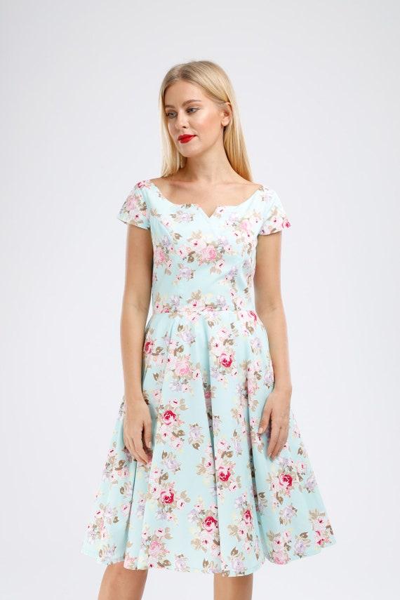 Plus Size Vintage Dress Rose Floral Dress Summer Dress Holiday Dress  Festive Floral V Neck Dress Pin Up Dress Swing Dress 50s Dress