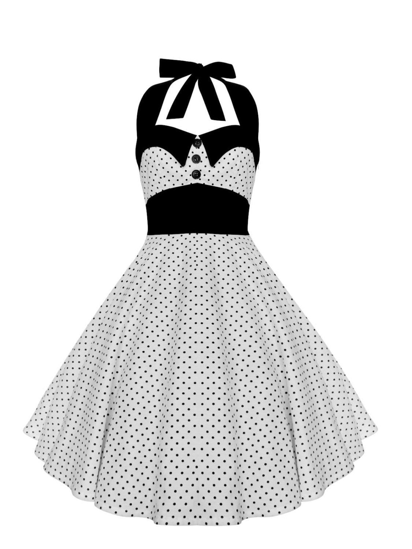Black and White Dress Polka Dot Dress Vintage Dress Rockabilly Dress Pin Up  Dress 50s Retro Dress Gothic Dress Steampunk Swing Party Dress