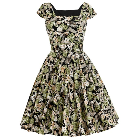 Plus Size Tropical Dress Hawaiian Dress Island Dress Tiki Dress Floral  Dress Pin Up Dress 50s Dress Vintage Style Dress Retro Dress