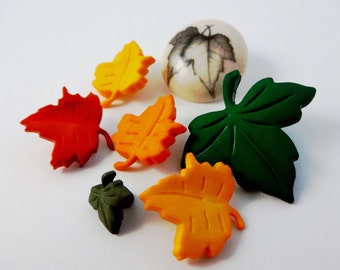 Fall maple leaf shank buttons, set of 7, for scrapbooking, cardmaking and sewing projects.